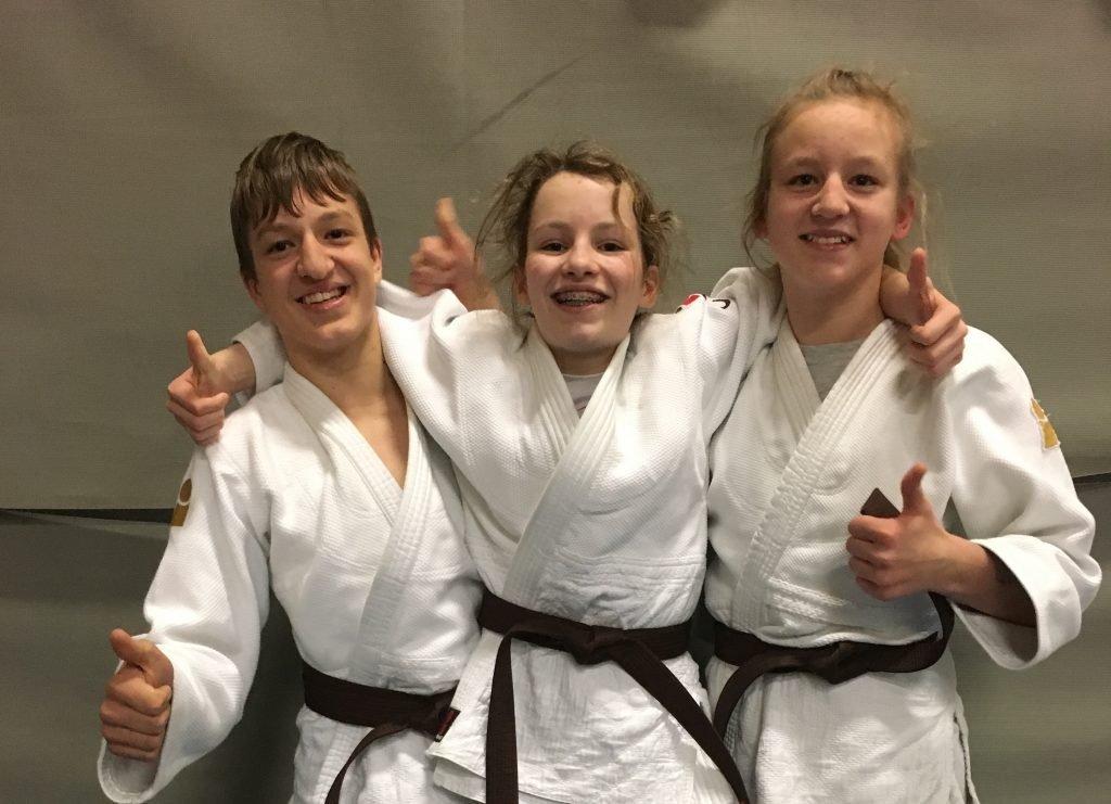 Marijn, Emi en Linde geslaagd voor bruine band